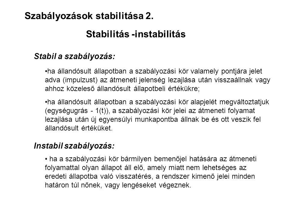 Szabályozások stabilitása 2. Stabilitás -instabilitás Stabil a szabályozás: Instabil szabályozás: •ha állandósult állapotban a szabályozási kör valame
