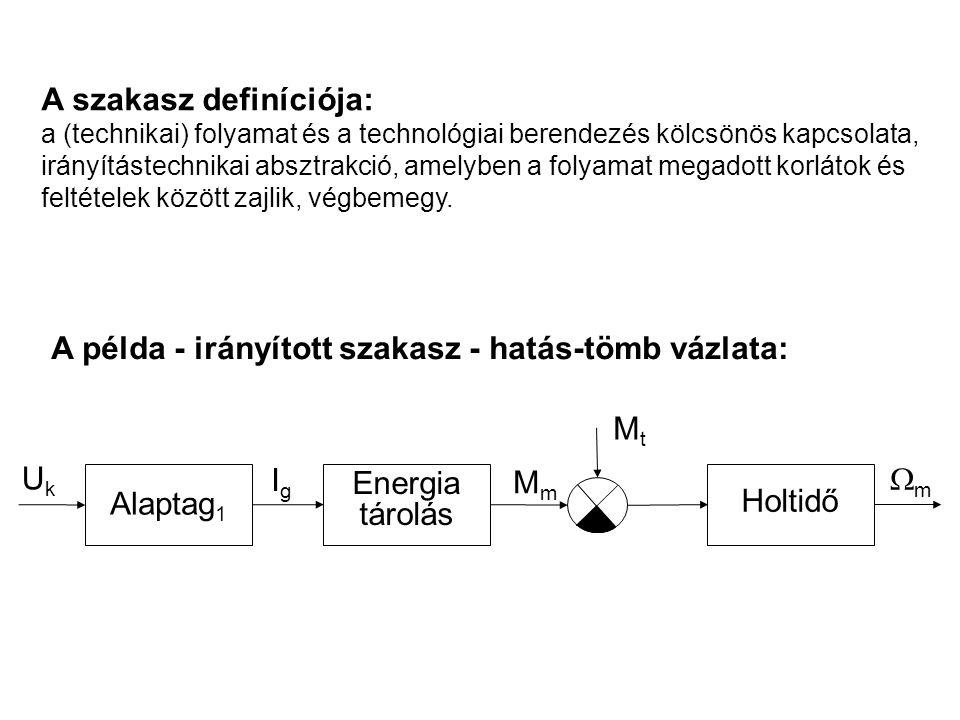 A szakasz definíciója: a (technikai) folyamat és a technológiai berendezés kölcsönös kapcsolata, irányítástechnikai absztrakció, amelyben a folyamat m