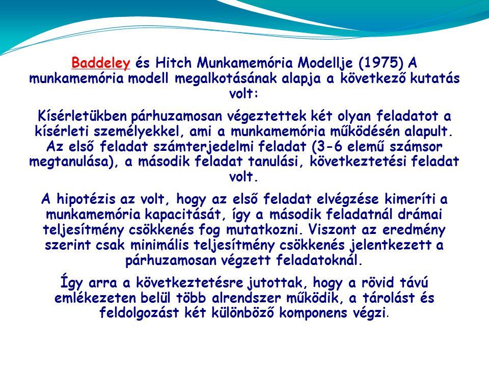 BaddeleyBaddeley és Hitch Munkamemória Modellje (1975) A munkamemória modell megalkotásának alapja a következő kutatás volt: Kísérletükben párhuzamosan végeztettek két olyan feladatot a kísérleti személyekkel, ami a munkamemória működésén alapult.