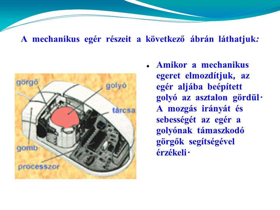 A mechanikus egér részeit a következő á br á n l á thatjuk :  Amikor a mechanikus egeret elmozdítjuk, az egér alj á ba beépített golyó az asztalon gördül.