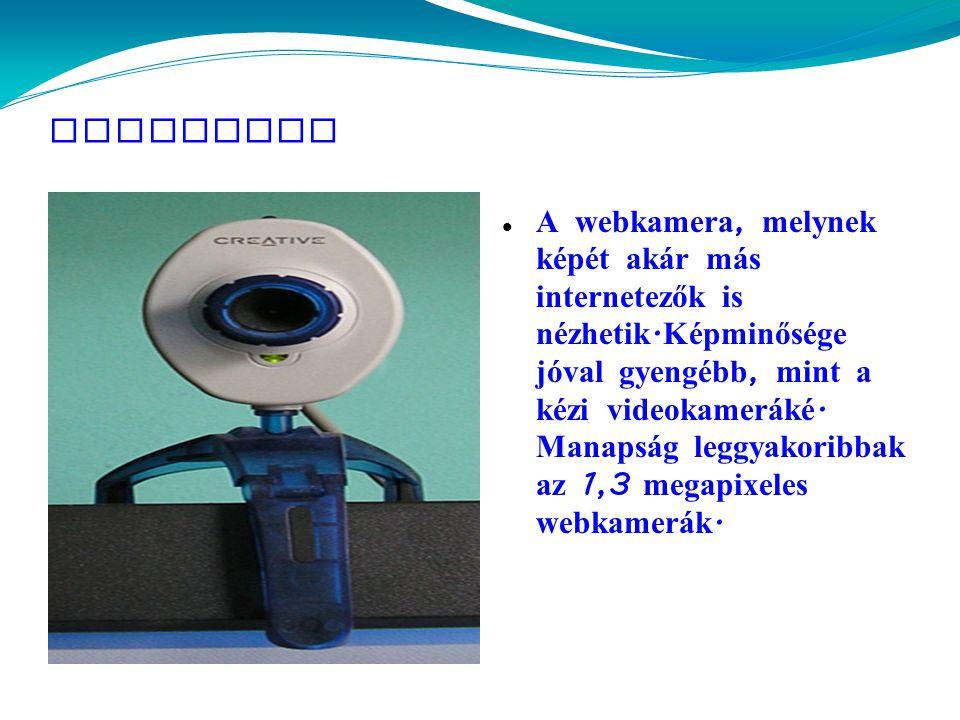 Webkamera  A webkamera, melynek képét ak á r m á s internetezők is nézhetik.