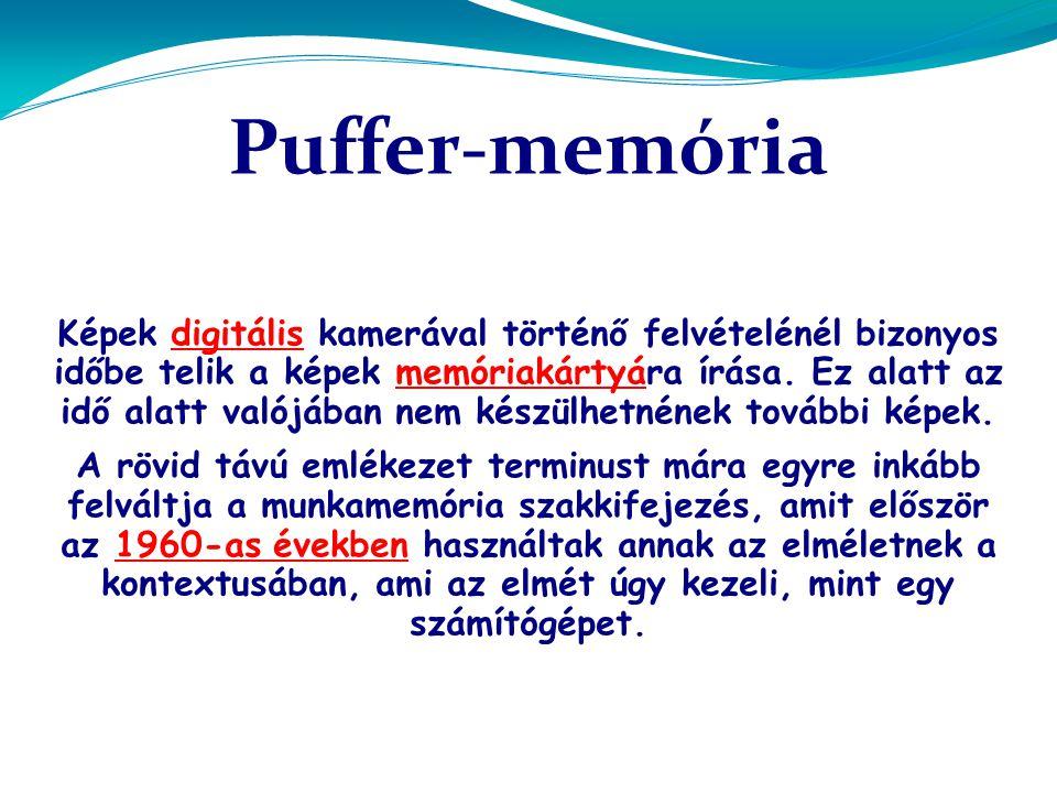 Puffer-memória Képek digitális kamerával történő felvételénél bizonyos időbe telik a képek memóriakártyára írása.