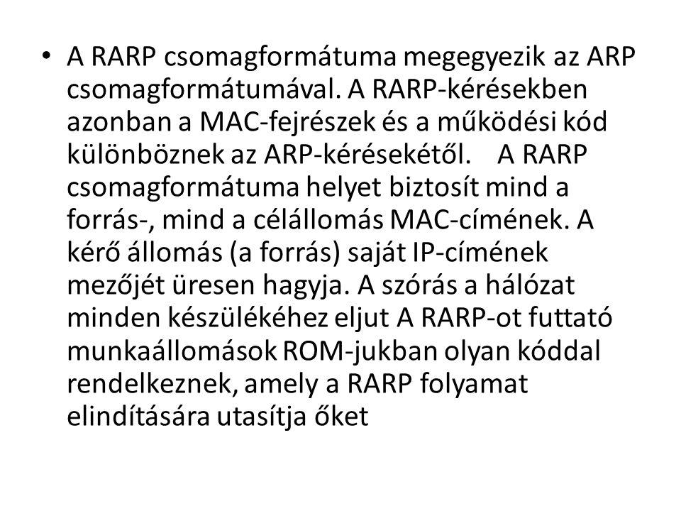 • A RARP csomagformátuma megegyezik az ARP csomagformátumával.