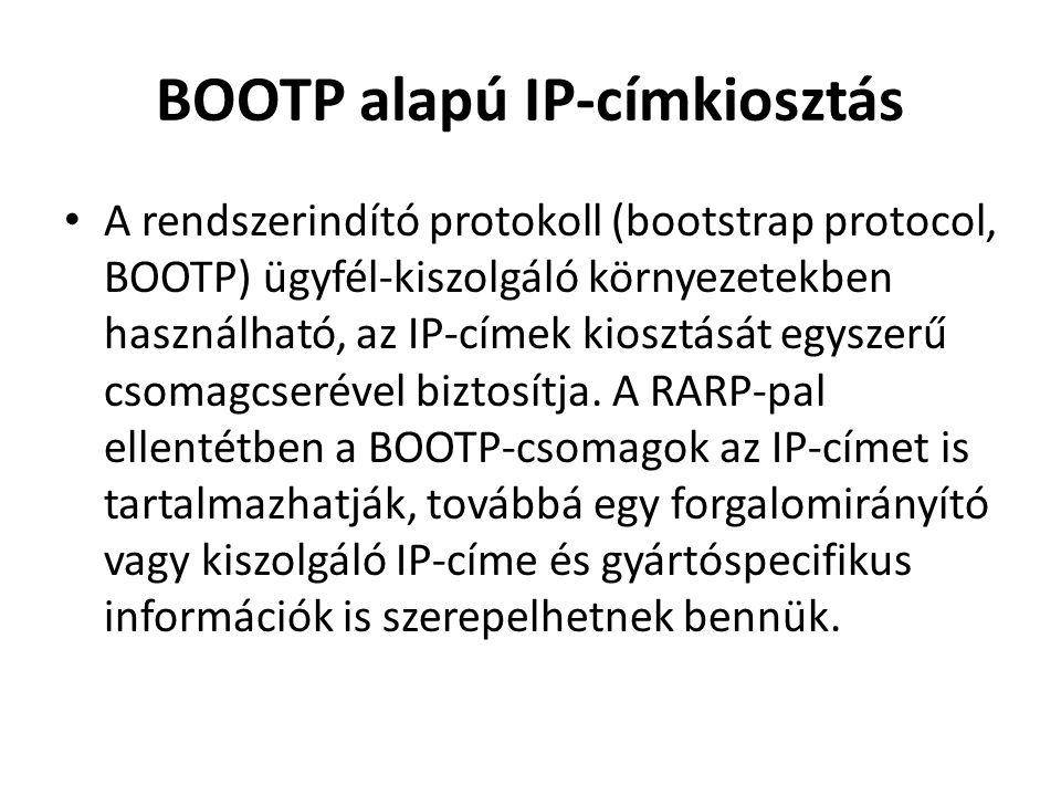 BOOTP alapú IP-címkiosztás • A rendszerindító protokoll (bootstrap protocol, BOOTP) ügyfél-kiszolgáló környezetekben használható, az IP-címek kiosztását egyszerű csomagcserével biztosítja.