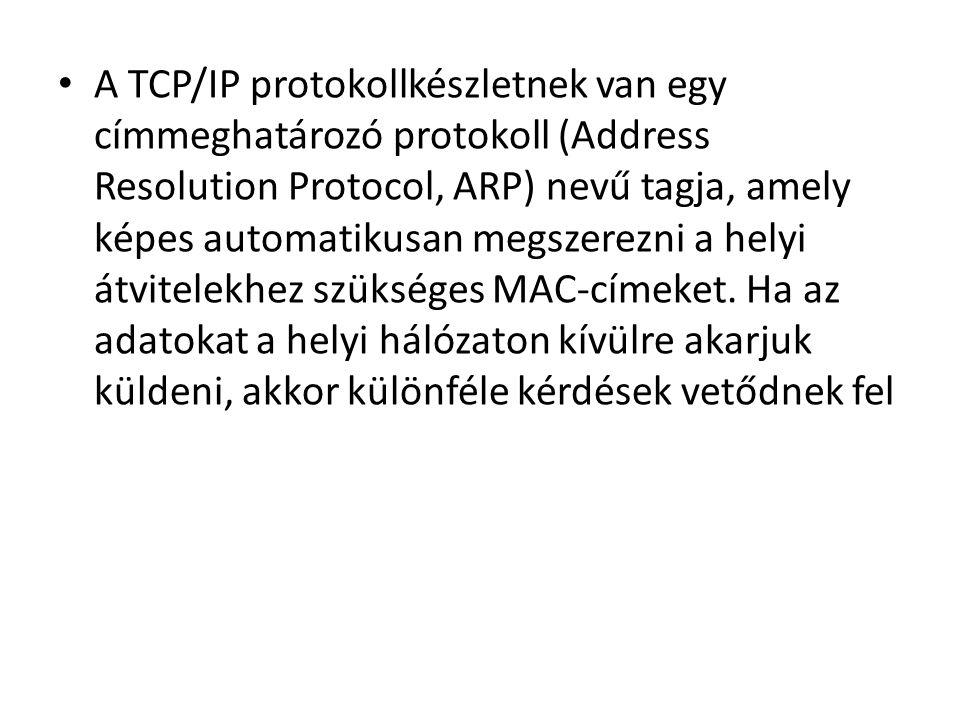 • A TCP/IP protokollkészletnek van egy címmeghatározó protokoll (Address Resolution Protocol, ARP) nevű tagja, amely képes automatikusan megszerezni a helyi átvitelekhez szükséges MAC-címeket.
