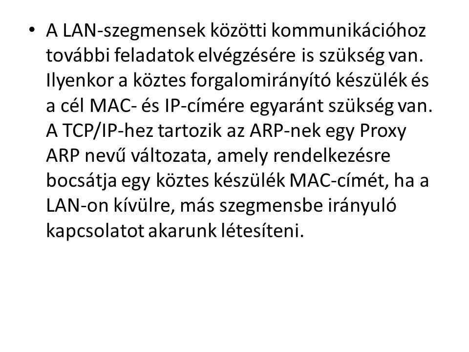 • A LAN-szegmensek közötti kommunikációhoz további feladatok elvégzésére is szükség van.