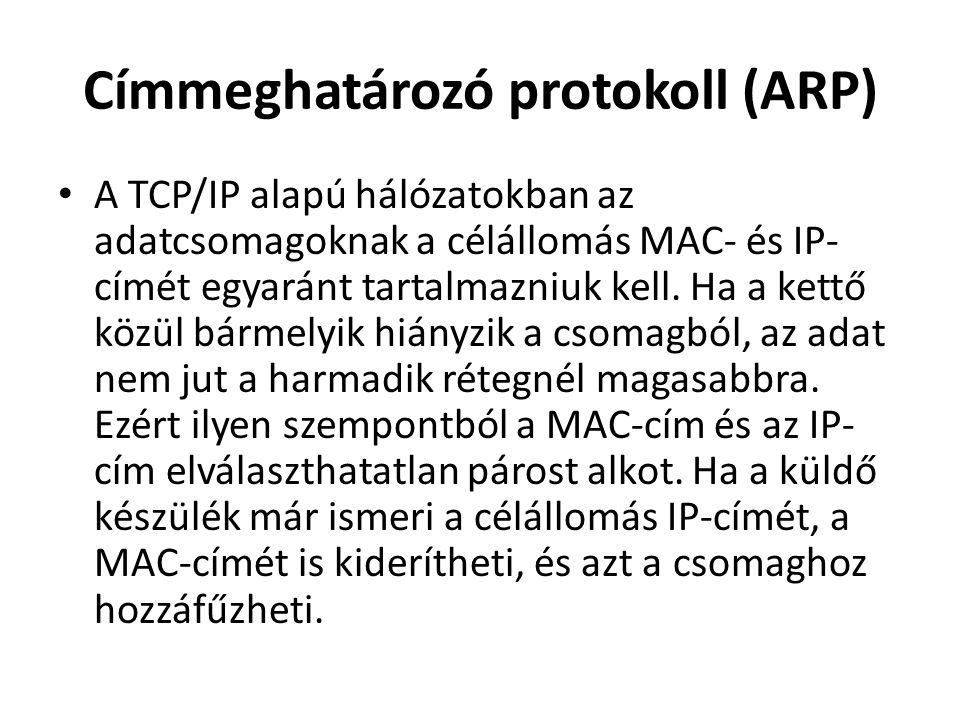 Címmeghatározó protokoll (ARP) • A TCP/IP alapú hálózatokban az adatcsomagoknak a célállomás MAC- és IP- címét egyaránt tartalmazniuk kell.