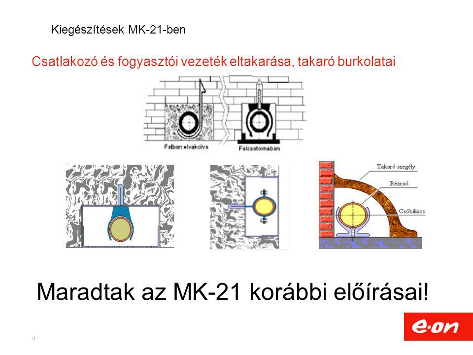 Csatlakozó és fogyasztói vezeték eltakarása, takaró burkolatai 12 Kiegészítések MK-21-ben Maradtak az MK-21 korábbi előírásai!