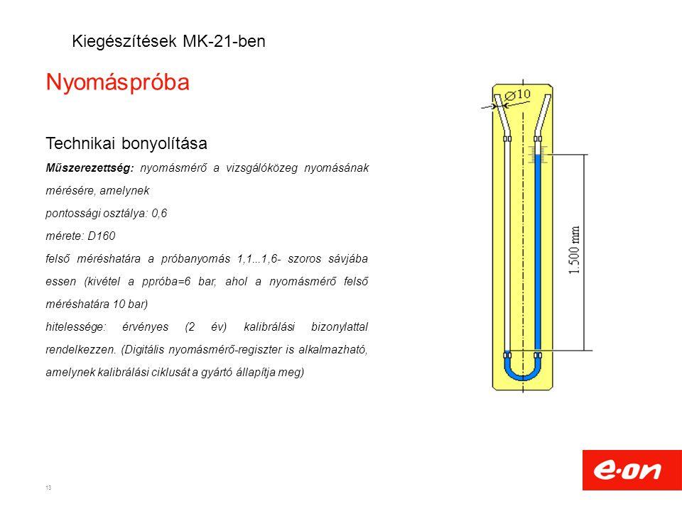 Nyomáspróba Technikai bonyolítása Műszerezettség: nyomásmérő a vizsgálóközeg nyomásának mérésére, amelynek pontossági osztálya: 0,6 mérete: D160 felső