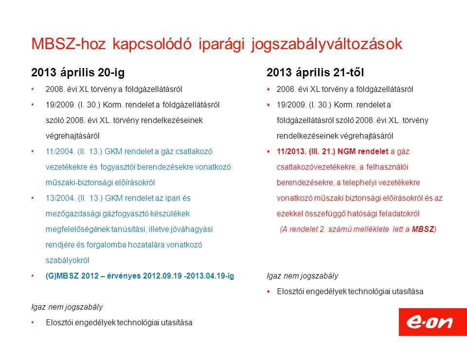 MBSZ-hoz kapcsolódó iparági jogszabályváltozások 2013 április 20-ig •2008. évi XL törvény a földgázellátásról •19/2009. (I. 30.) Korm. rendelet a föld
