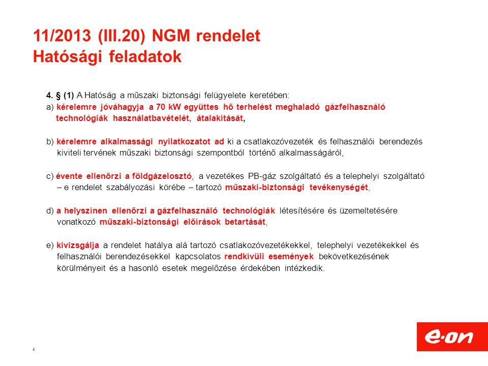 11/2013 (III.20) NGM rendelet Hatósági feladatok 4 4. § (1) A Hatóság a műszaki biztonsági felügyelete keretében: a) kérelemre jóváhagyja a 70 kW együ