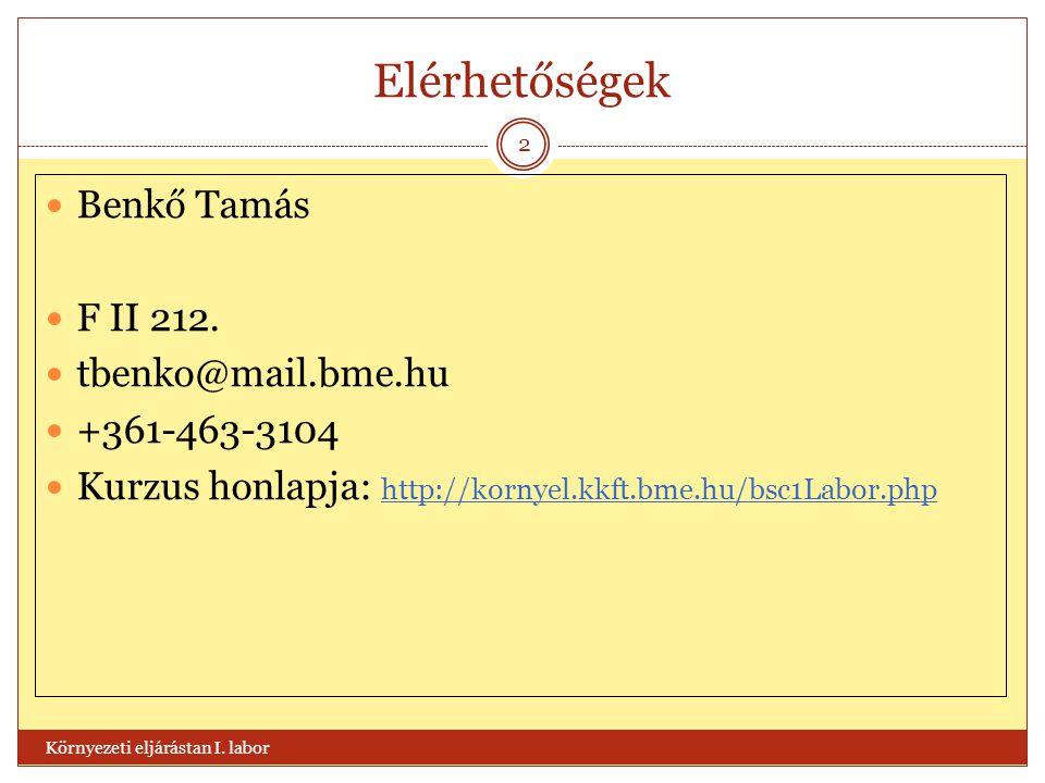 Elérhetőségek  Benkő Tamás  F II 212.  tbenko@mail.bme.hu  +361-463-3104  Kurzus honlapja: http://kornyel.kkft.bme.hu/bsc1Labor.php Környezeti el