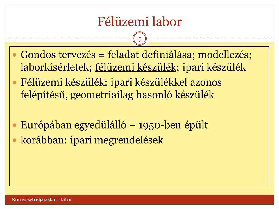 Félüzemi labor Környezeti eljárástan I. labor 5  Gondos tervezés = feladat definiálása; modellezés; laborkísérletek; félüzemi készülék; ipari készülé