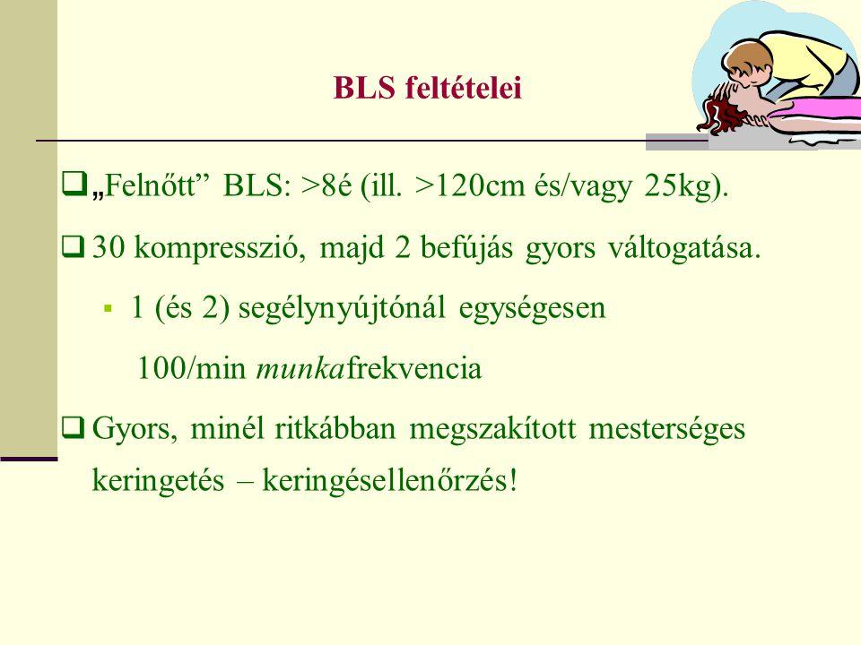 """BLS feltételei  """" Felnőtt"""" BLS: >8é (ill. >120cm és/vagy 25kg).  30 kompresszió, majd 2 befújás gyors váltogatása.  1 (és 2) segélynyújtónál egység"""