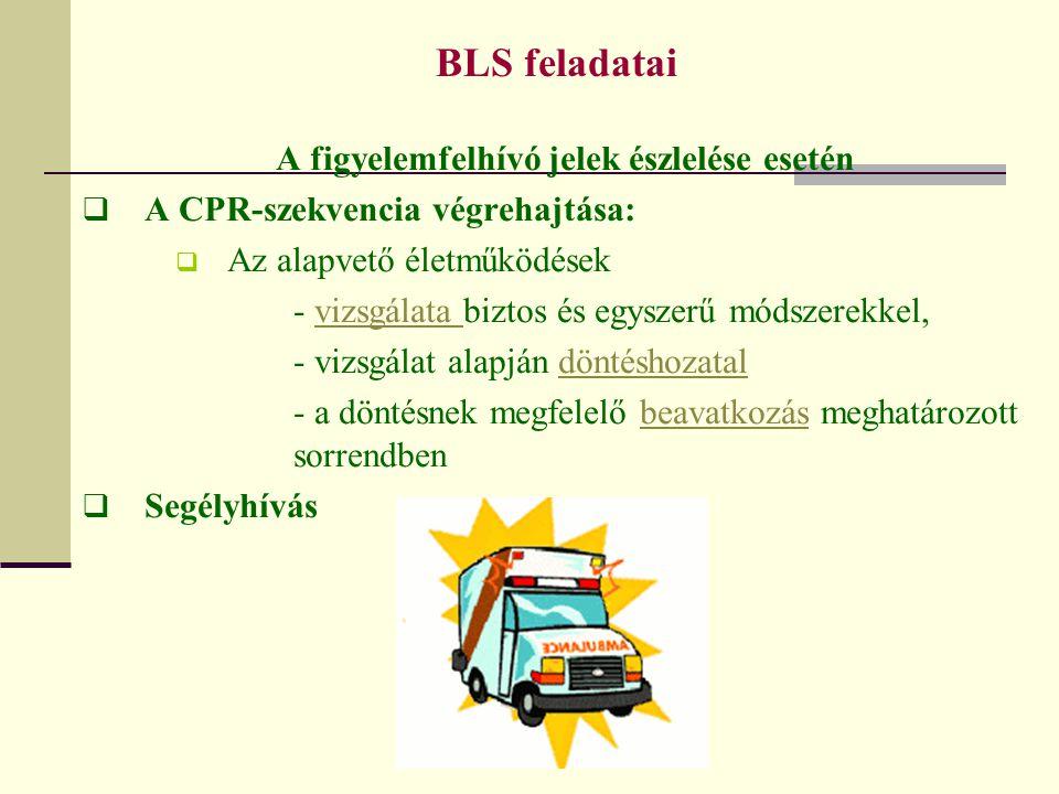 BLS feladatai A figyelemfelhívó jelek észlelése esetén  A CPR-szekvencia végrehajtása:  Az alapvető életműködések - vizsgálata biztos és egyszerű mó