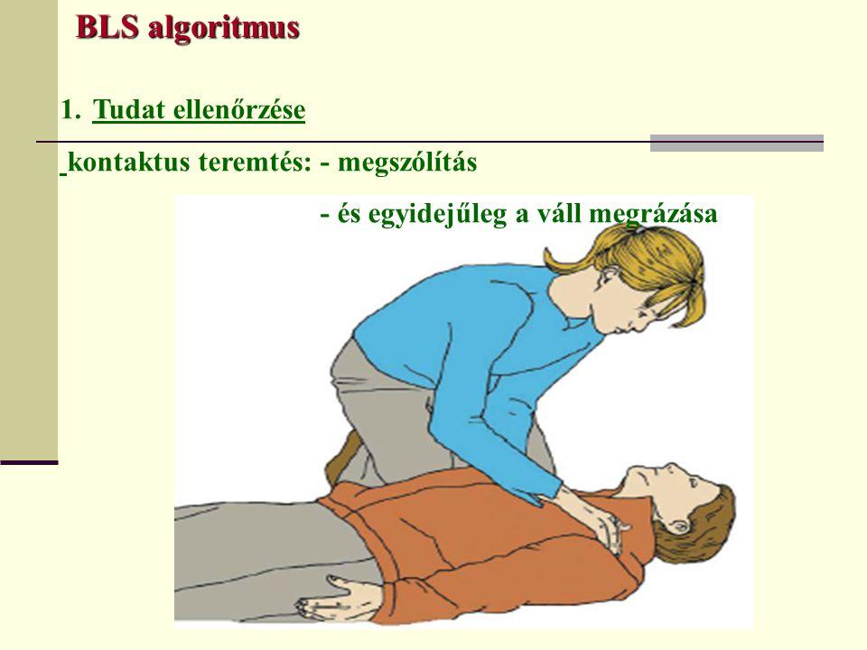 BLS algoritmus BLS algoritmus 1.Tudat ellenőrzése kontaktus teremtés: - megszólítás - és egyidejűleg a váll megrázása