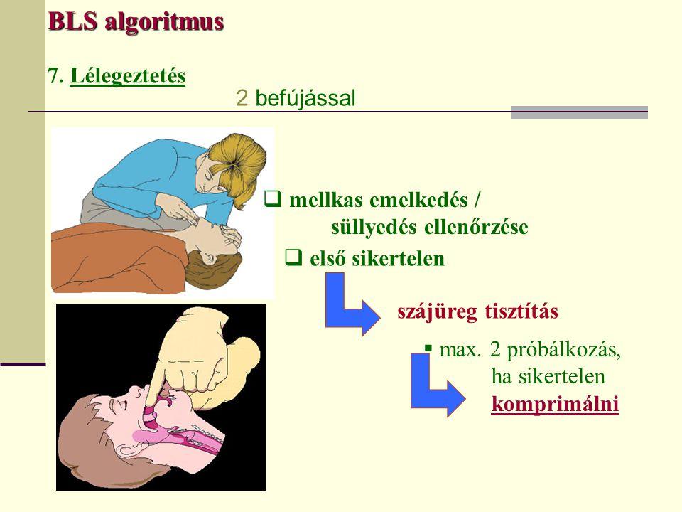 BLS algoritmus 7. Lélegeztetés  mellkas emelkedés / süllyedés ellenőrzése  első sikertelen szájüreg tisztítás  max. 2 próbálkozás, ha sikertelen ko