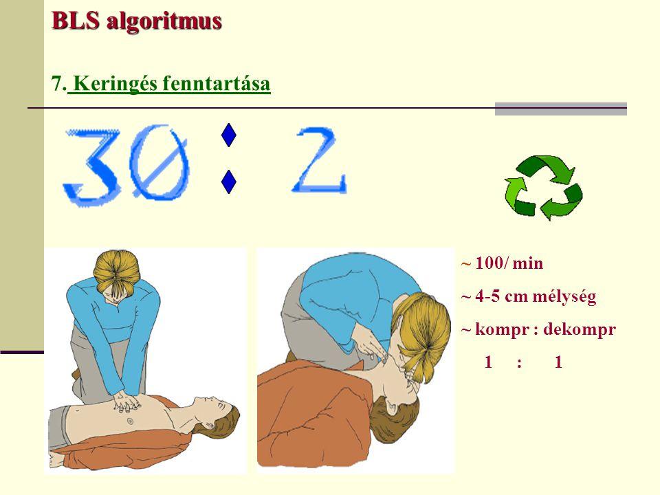 BLS algoritmus 7. Keringés fenntartása ~ 100/ min ~ 4-5 cm mélység ~ kompr : dekompr 1 : 1