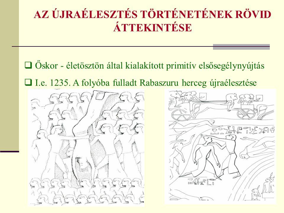 AZ ÚJRAÉLESZTÉS TÖRTÉNETÉNEK RÖVID ÁTTEKINTÉSE  Őskor - életösztön által kialakított primitív elsősegélynyújtás  I.e. 1235. A folyóba fulladt Rabasz