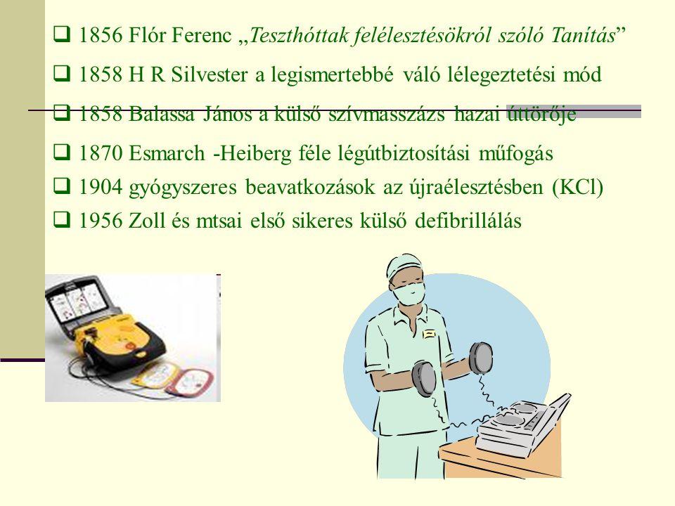""" 1856 Flór Ferenc """"Teszthóttak felélesztésökról szóló Tanítás""""  1858 H R Silvester a legismertebbé váló lélegeztetési mód  1858 Balassa János a kül"""
