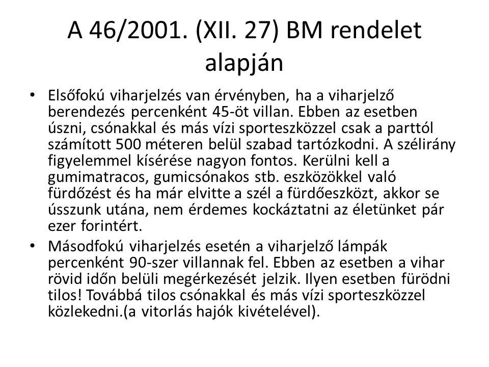 A 46/2001. (XII. 27) BM rendelet alapján • Elsőfokú viharjelzés van érvényben, ha a viharjelző berendezés percenként 45-öt villan. Ebben az esetben ús