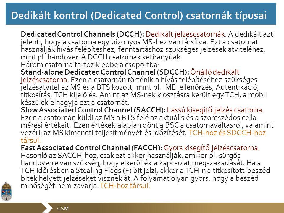 GSM Dedicated Control Channels (DCCH): Dedikált jelzéscsatornák. A dedikált azt jelenti, hogy a csatorna egy bizonyos MS-hez van társítva. Ezt a csato