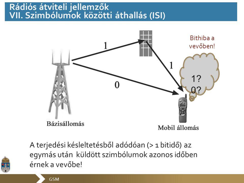 GSM A terjedési késleltetésből adódóan (> 1 bitidő) az egymás után küldött szimbólumok azonos időben érnek a vevőbe! 1? 0? Bithiba a vevőben! Rádiós á