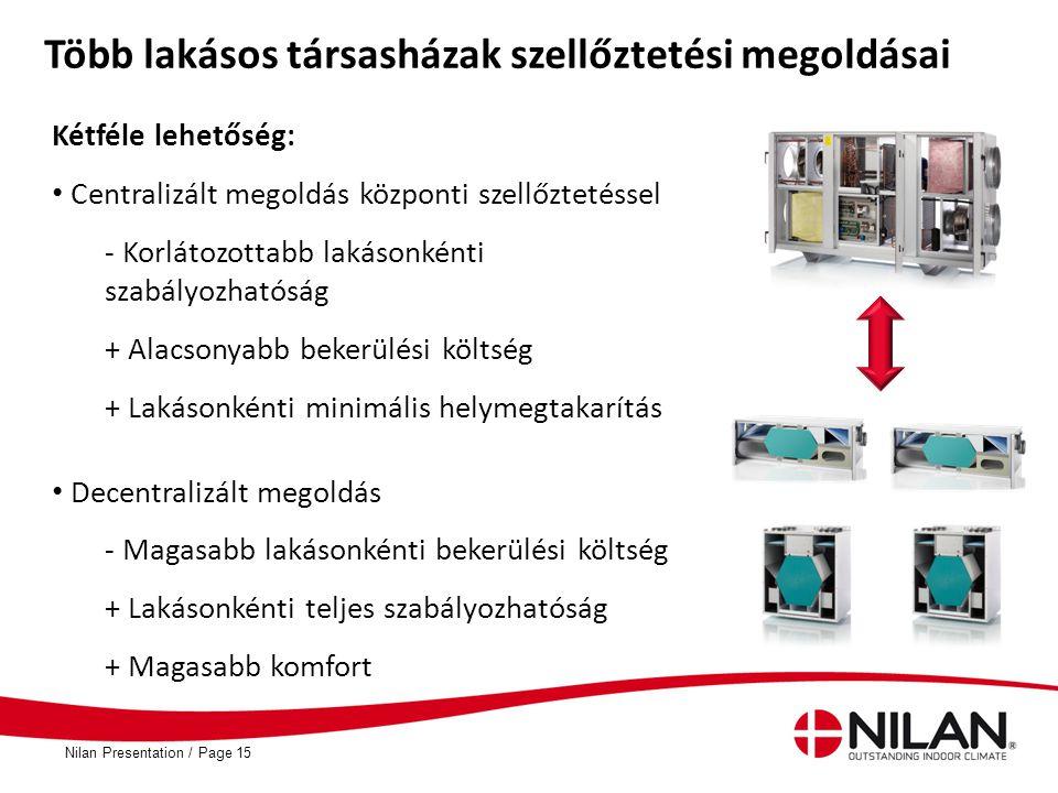 PageNilan Presentation /15 Több lakásos társasházak szellőztetési megoldásai Kétféle lehetőség: • Centralizált megoldás központi szellőztetéssel - Kor