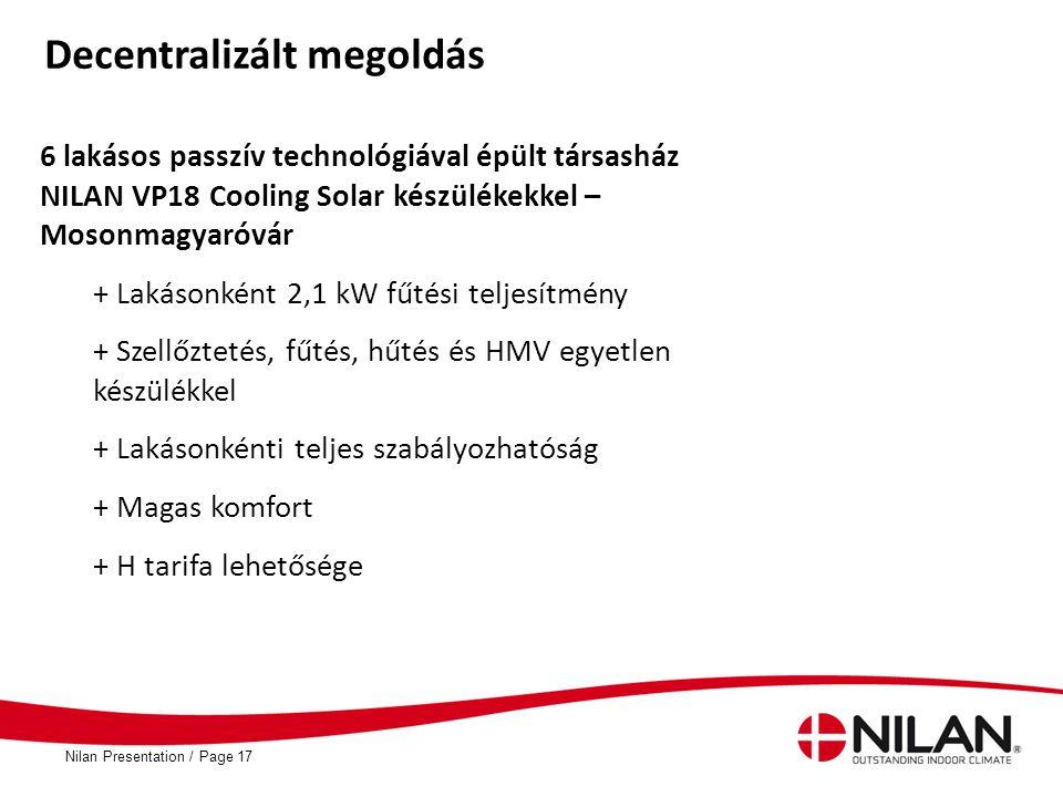 PageNilan Presentation /17 Decentralizált megoldás 6 lakásos passzív technológiával épült társasház NILAN VP18 Cooling Solar készülékekkel – Mosonmagy