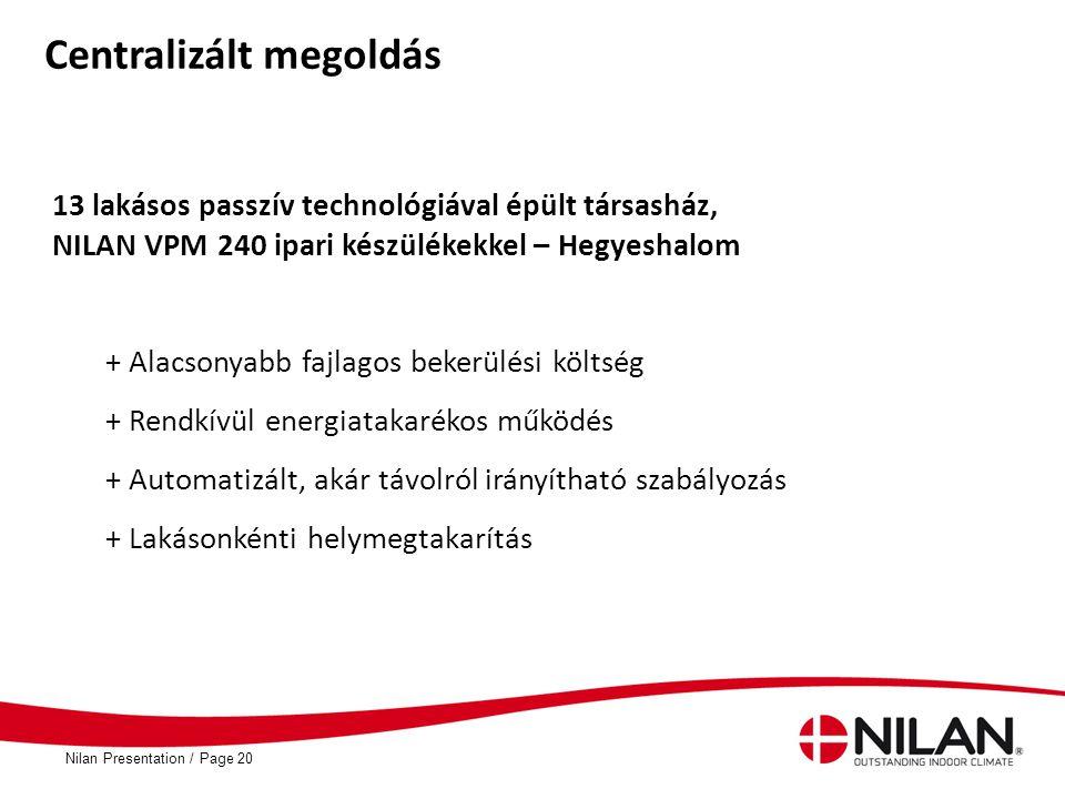 PageNilan Presentation /20 Centralizált megoldás 13 lakásos passzív technológiával épült társasház, NILAN VPM 240 ipari készülékekkel – Hegyeshalom +