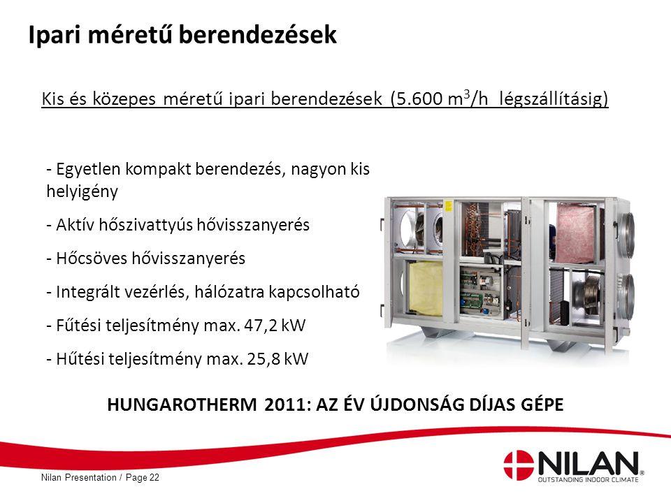 PageNilan Presentation /22 Ipari méretű berendezések - Egyetlen kompakt berendezés, nagyon kis helyigény - Aktív hőszivattyús hővisszanyerés - Hőcsöve