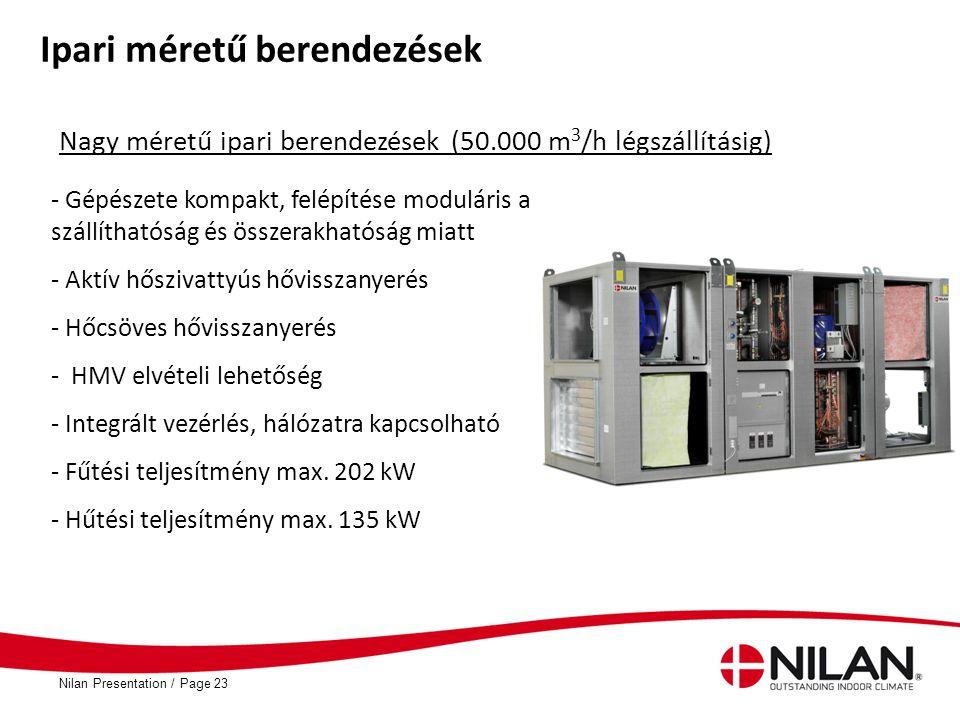 PageNilan Presentation /23 Ipari méretű berendezések Nagy méretű ipari berendezések (50.000 m 3 /h légszállításig) - Gépészete kompakt, felépítése mod