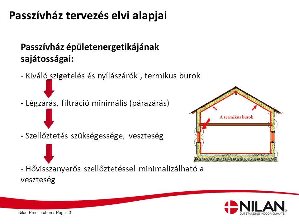 PageNilan Presentation /3 Passzívház tervezés elvi alapjai Passzívház épületenergetikájának sajátosságai: - Kiváló szigetelés és nyílászárók, termikus