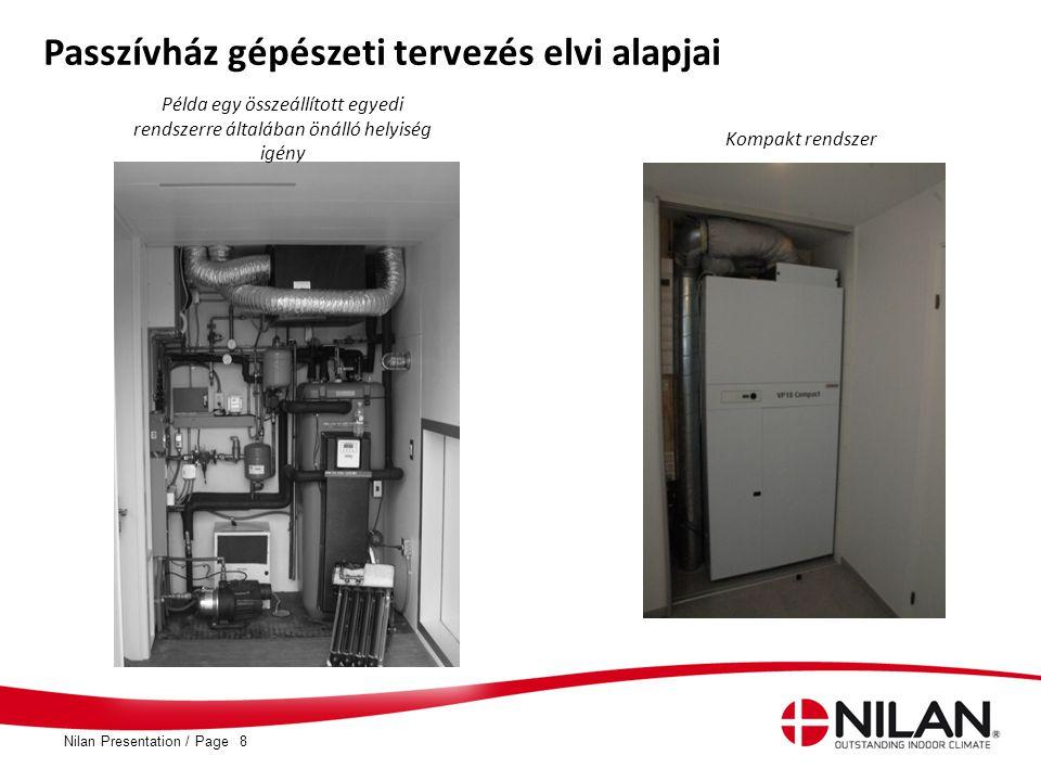 PageNilan Presentation /8 Passzívház gépészeti tervezés elvi alapjai Példa egy összeállított egyedi rendszerre általában önálló helyiség igény Kompakt