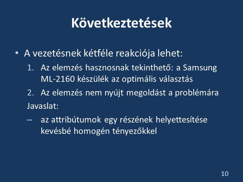 Következtetések • A vezetésnek kétféle reakciója lehet: 1.Az elemzés hasznosnak tekinthető: a Samsung ML-2160 készülék az optimális választás 2.Az elemzés nem nyújt megoldást a problémára Javaslat: – az attribútumok egy részének helyettesítése kevésbé homogén tényezőkkel 10