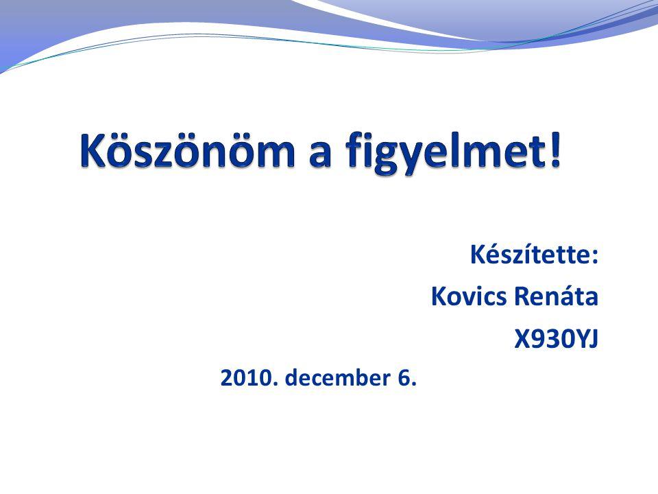 Készítette: Kovics Renáta X930YJ 2010. december 6.