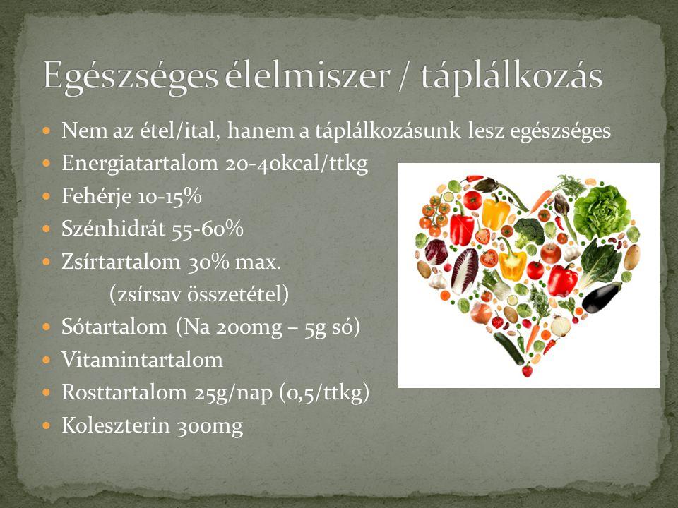  Nem az étel/ital, hanem a táplálkozásunk lesz egészséges  Energiatartalom 20-40kcal/ttkg  Fehérje 10-15%  Szénhidrát 55-60%  Zsírtartalom 30% ma