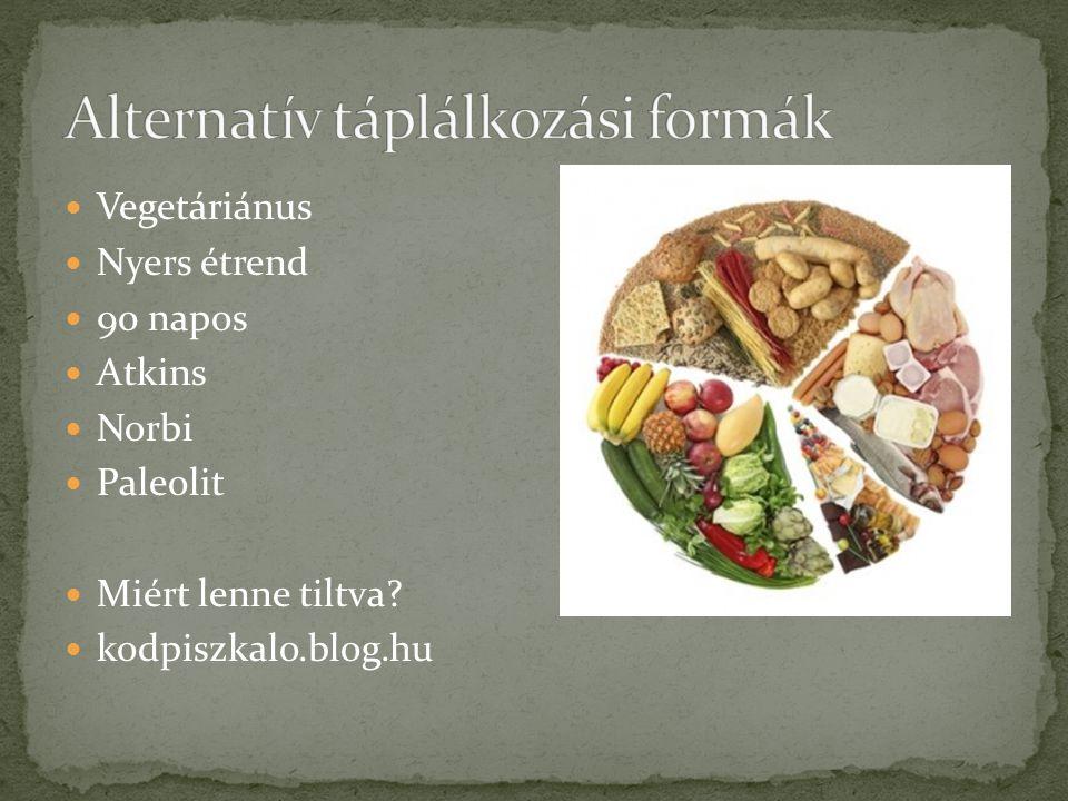  Vegetáriánus  Nyers étrend  90 napos  Atkins  Norbi  Paleolit  Miért lenne tiltva?  kodpiszkalo.blog.hu
