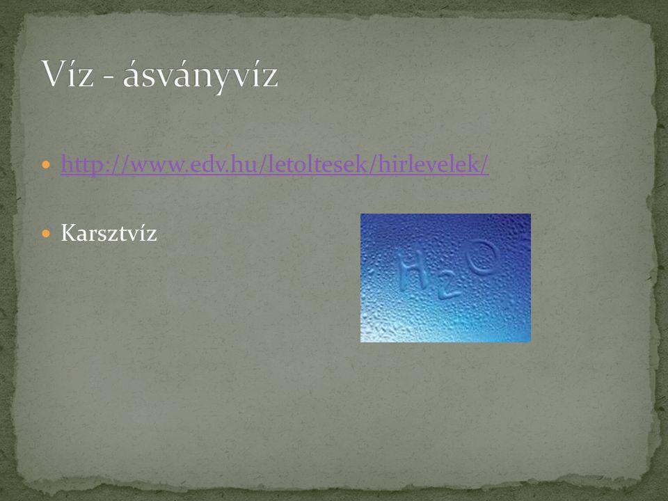  http://www.edv.hu/letoltesek/hirlevelek/ http://www.edv.hu/letoltesek/hirlevelek/  Karsztvíz