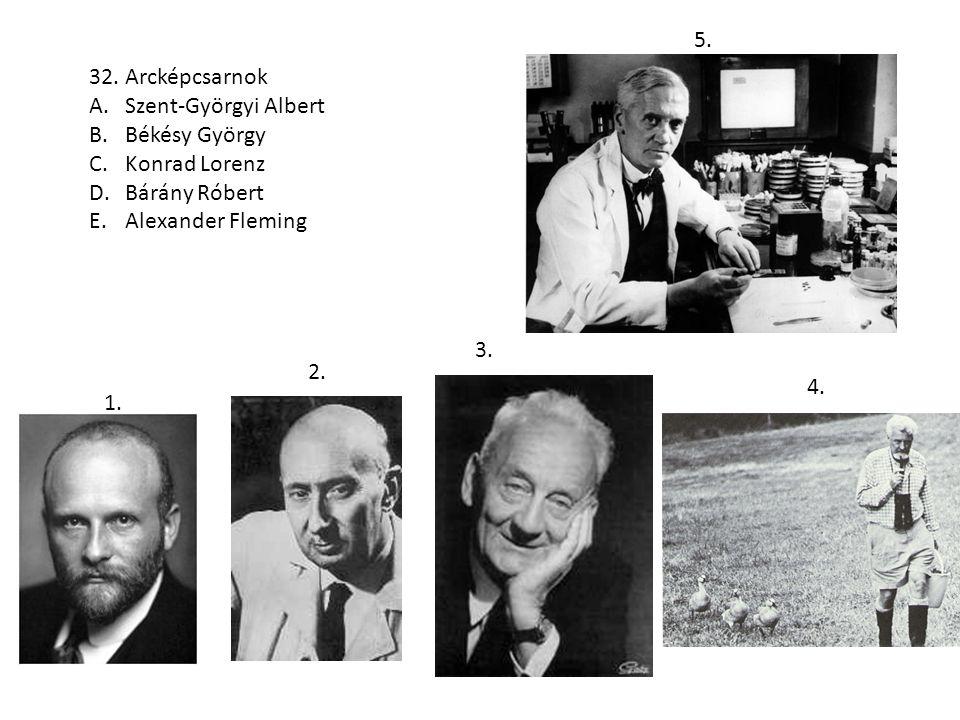 32. Arcképcsarnok A.Szent-Györgyi Albert B.Békésy György C.Konrad Lorenz D.Bárány Róbert E.Alexander Fleming 1. 2. 3. 4. 5.
