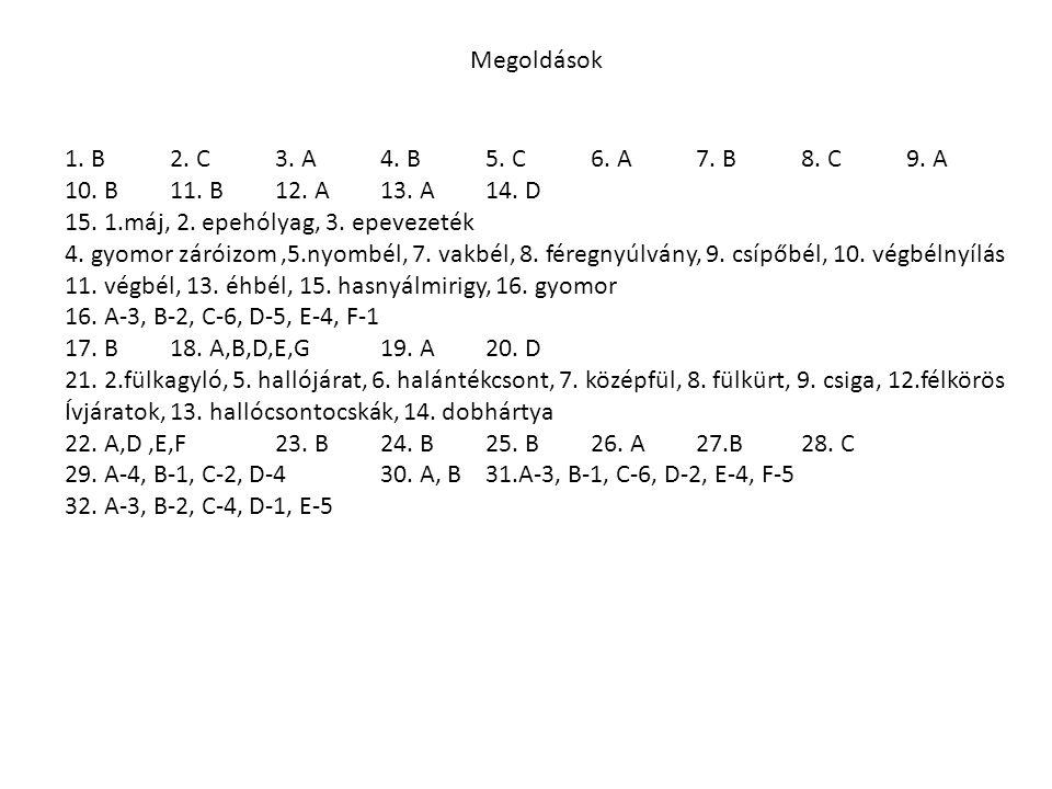Megoldások 1. B 2. C 3. A 4. B 5. C6. A7. B8. C9. A 10.B11. B12. A13. A14. D 15. 1.máj, 2. epehólyag, 3. epevezeték 4. gyomor záróizom,5.nyombél, 7. v