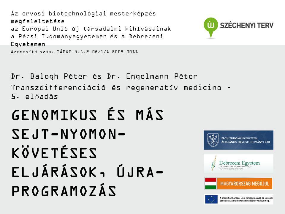 GENOMIKUS ÉS MÁS SEJT-NYOMON- KÖVETÉSES ELJÁRÁSOK, ÚJRA- PROGRAMOZÁS Az orvosi biotechnológiai mesterképzés megfeleltetése az Európai Unió új társadal