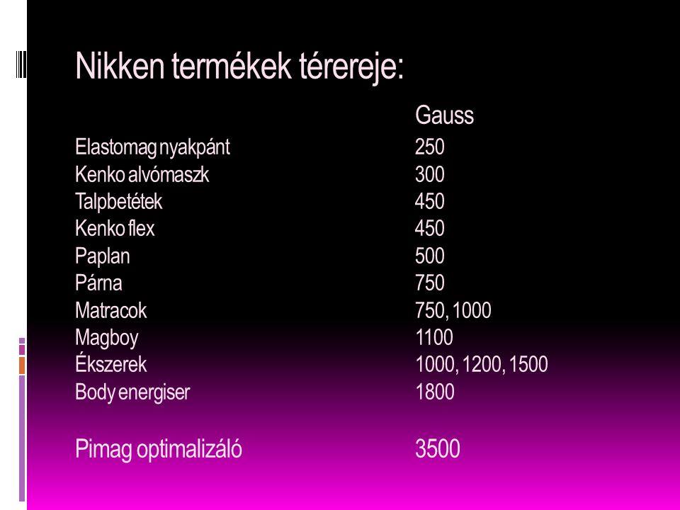 Nikken termékek térereje: Gauss Elastomag nyakpánt250 Kenko alvómaszk300 Talpbetétek450 Kenko flex450 Paplan500 Párna750 Matracok750, 1000 Magboy1100