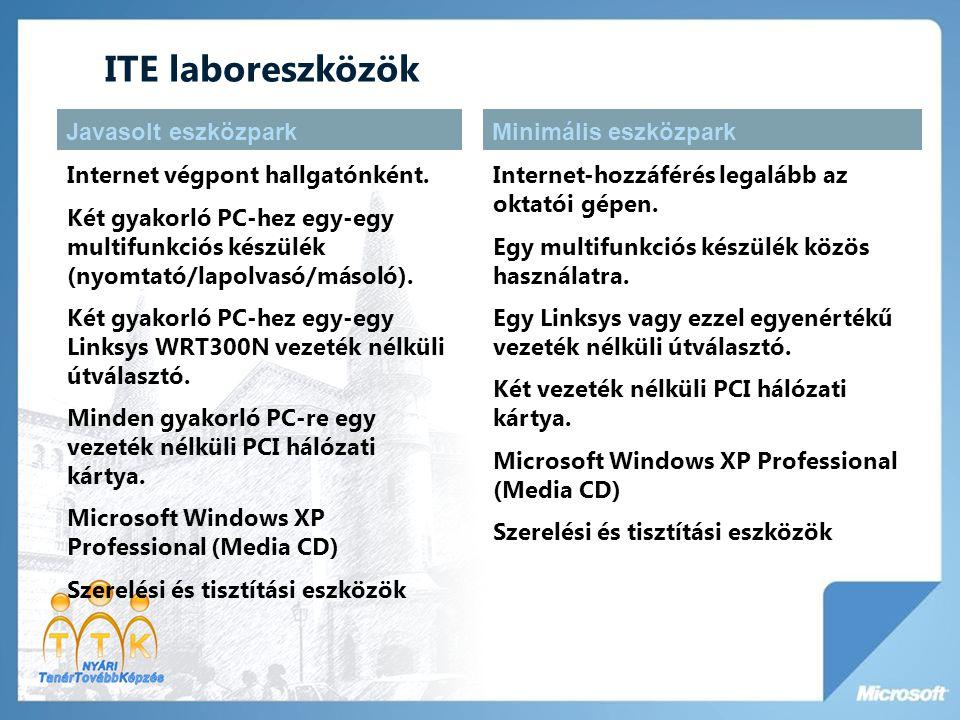 ITE laboreszközök Internet végpont hallgatónként. Két gyakorló PC-hez egy-egy multifunkciós készülék (nyomtató/lapolvasó/másoló). Két gyakorló PC-hez