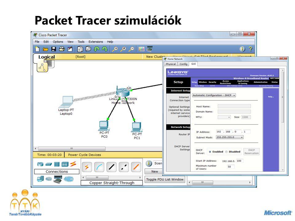 Packet Tracer szimulációk