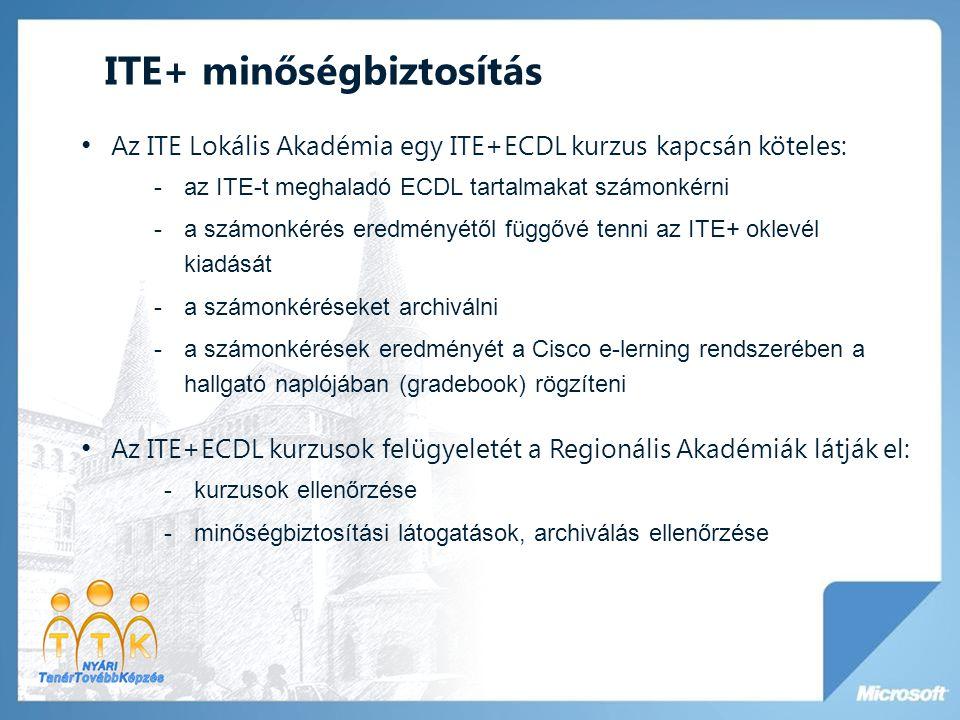 ITE+ minőségbiztosítás • Az ITE Lokális Akadémia egy ITE+ECDL kurzus kapcsán köteles: -az ITE-t meghaladó ECDL tartalmakat számonkérni -a számonkérés