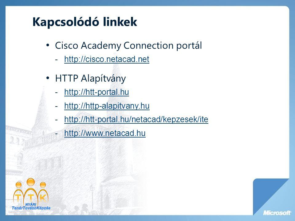 Kapcsolódó linkek • Cisco Academy Connection portál -http://cisco.netacad.nethttp://cisco.netacad.net • HTTP Alapítvány -http://htt-portal.huhttp://ht