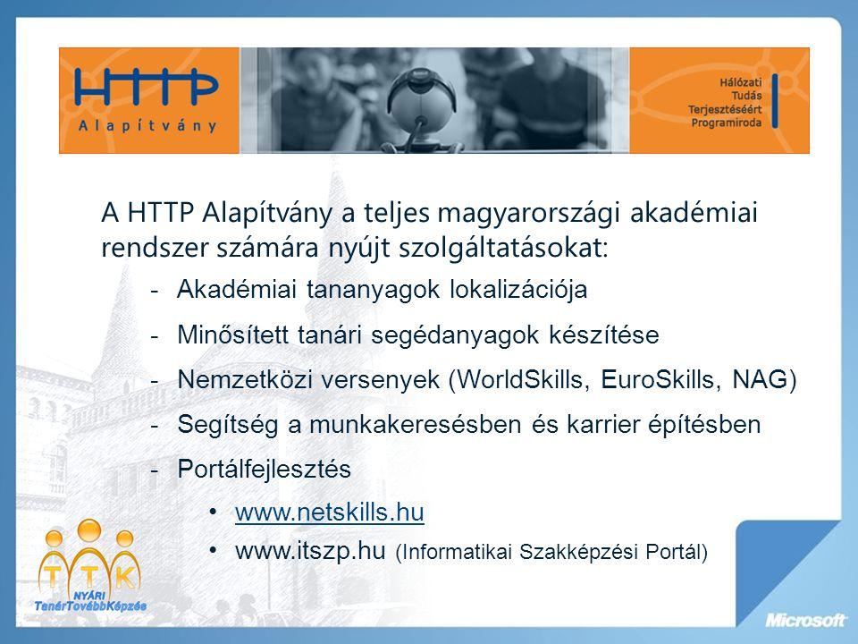 A HTTP Alapítvány a teljes magyarországi akadémiai rendszer számára nyújt szolgáltatásokat: -Akadémiai tananyagok lokalizációja -Minősített tanári seg