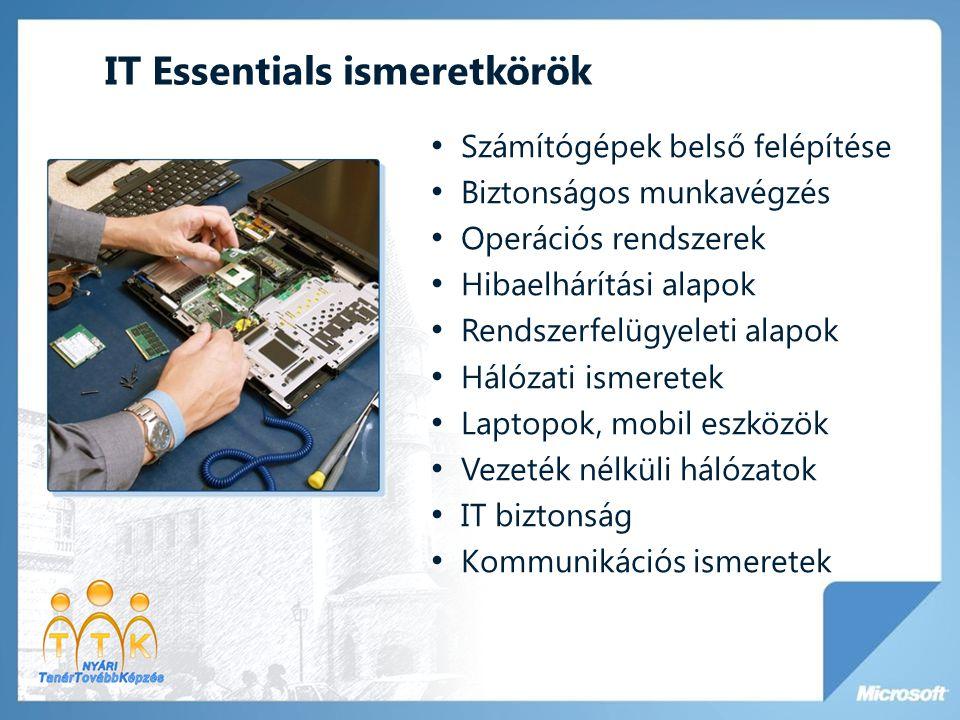IT Essentials ismeretkörök • Számítógépek belső felépítése • Biztonságos munkavégzés • Operációs rendszerek • Hibaelhárítási alapok • Rendszerfelügyel