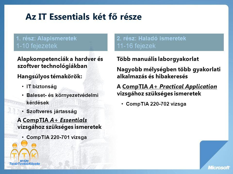 Az IT Essentials két fő része Alapkompetenciák a hardver és szoftver technológiákban Hangsúlyos témakörök: •IT biztonság •Baleset- és környezetvédelmi